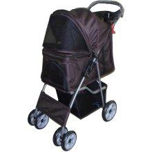 Dog Puppy Cat Pet Travel Stroller Pushchair Pram Jogger Buggy Swivel Wheels Vet[Brown]