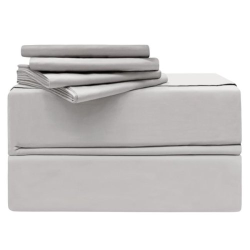 Simply the Best YMS008205 Luxury 620 Thread Count 100 Percent Cotton Sheet Set, Platinum - Queen - 6 Piece