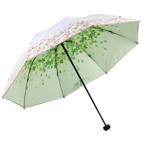 Portable Folding Umbrella Sun Protection Light Pink And Flowers On