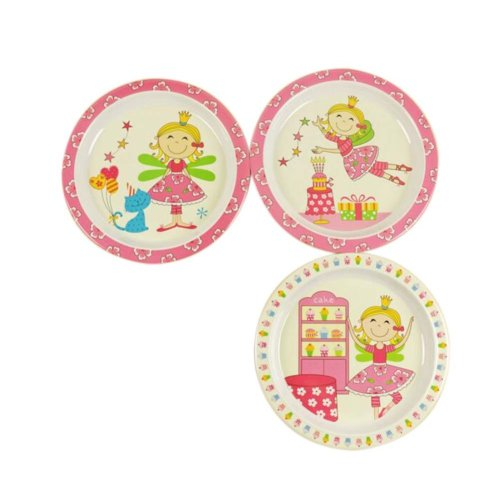 3 Pieces Of Fashion Cartoon Little Girl Pattern Drop Resistance Plate