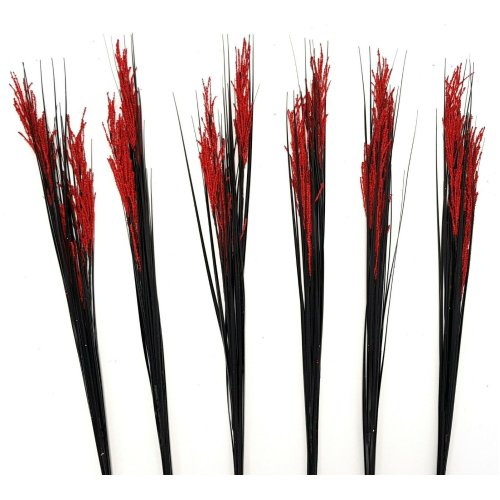 Set of 6 Artificial Flowering 90cm Grass Stem - Black Grass with Red Flowers
