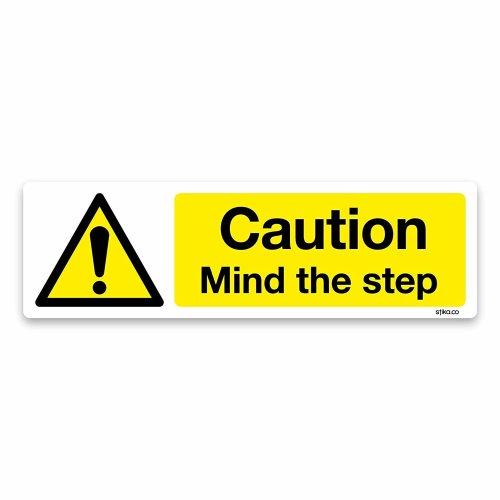 Caution Mind the Step Sign, 200x60, Warning and Hazard Safety Vinyl Sticker (White Vinyl)