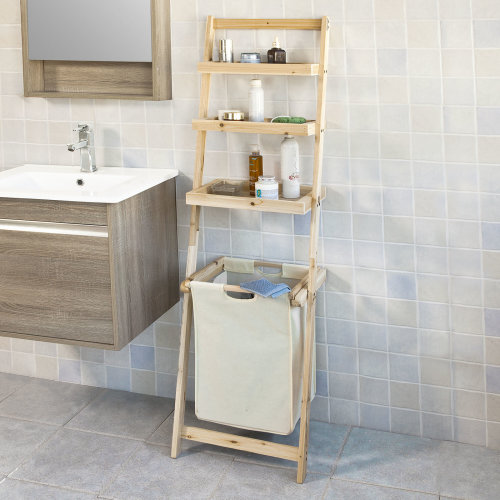 SoBuy® FRG160-N, Bathroom Shelf with 3 Shelves & Laundry Basket