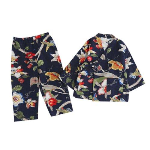 Women's Autumn&Winter Pajamas Sweet Kimono Pajamas Cotton and Linen Tracksuit