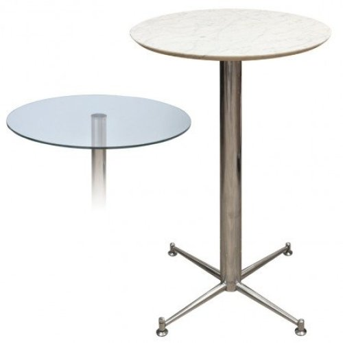 Payson Tall Poseur Kitchen Dining Table Marble or Granite Table Top Table 4 Leg or Stainless Steel Frame 70cm Square(369) Brushed Steel Neon - Granite