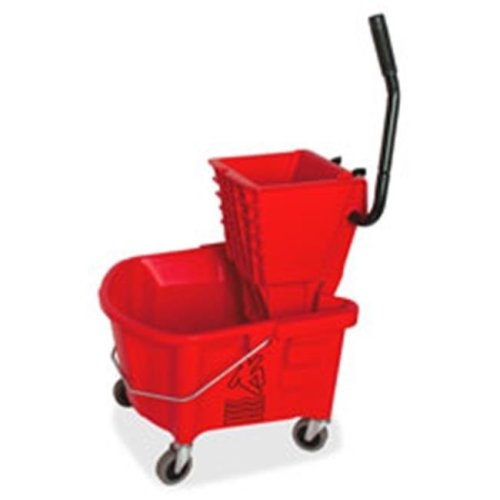 Mop Bucket-Wringer Combo, Splash Guard, 26qt., Red