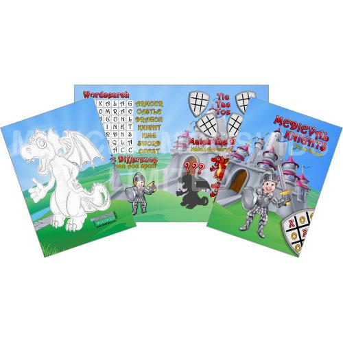 12 x Knights & Dragons Fun & Games Activity Sheets Party Bag Fillers