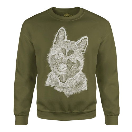 Candymix - Alaskan Malamute Sketch - Unisex Adult Sweatshirt, Size X-Small, Colour Dark Navy, Size Medium, Colour Military Green