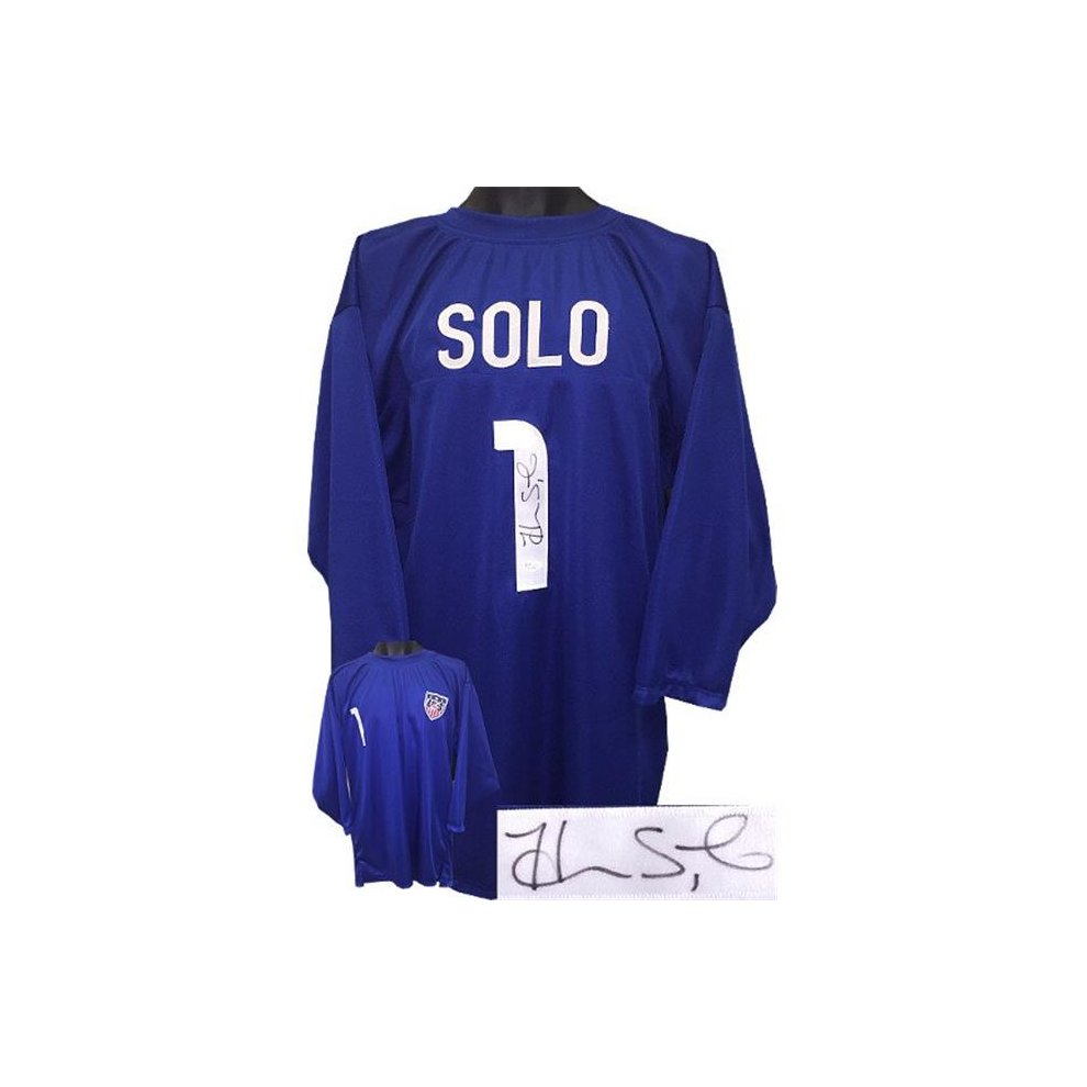 11d0840502b Athlon Sports CTBL-022190 Hope Solo Signed Soccer Blue Prostyle Jersey 0.75  Sleeves with Team.