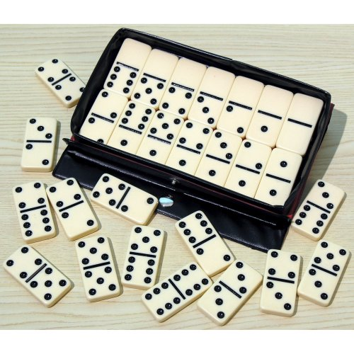 Double six dominoes with black spots, plastic - 00116