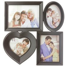 4 Aperture Gallery Frame Family Love Collage Wall Photo Picture Multiframe Black -