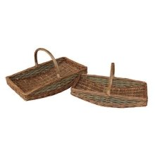 Set of 2 Curved Base Rectangular Country Unpeeled Garden Trugs