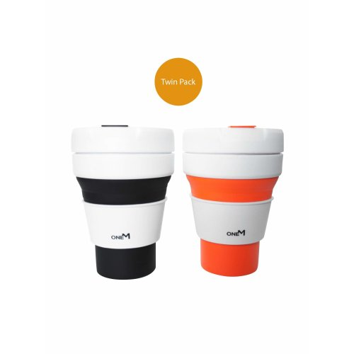 Collapsible Silicone Travel Cup by OneMind [2-Pack] [12oz/355ml] | Silicone Coffee Expandable Drinking Mug with Leakproof Lid | Premium, BPA-Free,...