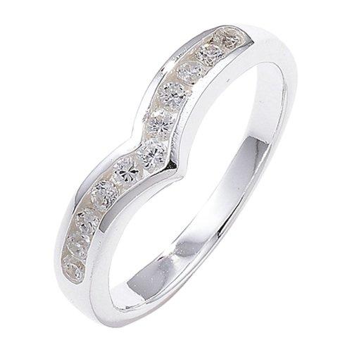 Sterling Silver Channel Set Wishbone Cubic Zirconia Ring - Size K