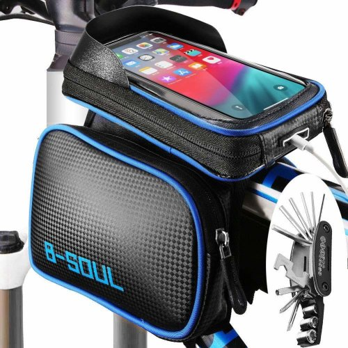 ODSPTER Cycling Bike Frame Bag, Bike Bag Phone Pouch, Waterproof Touchscreen Front Top Tube Frame Bag Bicycle Double Pouch Saddle Bags for...