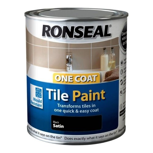 Ronseal One Coat Tile Paint 750ml | Black Satin