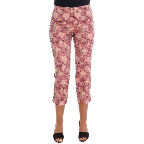 Dolce & Gabbana Pink Floral Brocade Capri Pants