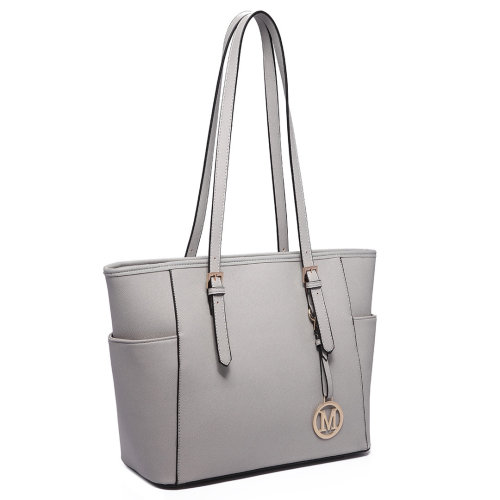 (Light Grey 1642) Miss Lulu Women's Adjustable PU Leather Shoulder Bag