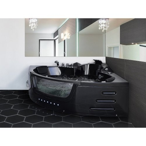 Whirlpool Black Corner Bath with LED MARTINICA
