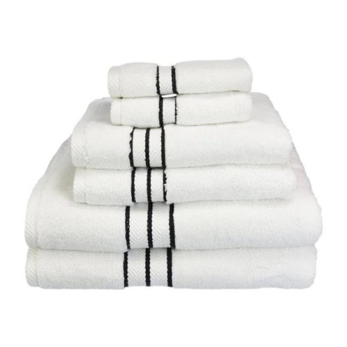 Superior 900GSM-H 6PC SET BK 900 Gsm Egyptian Cotton Towel Set - White With Black Border, 6 Pieces