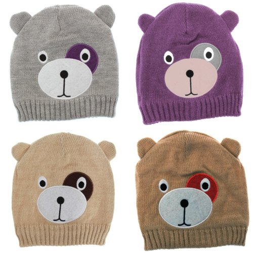 Childrens/Kids Girls Teddy Bear Design Winter/Ski Hat With Inner Lining