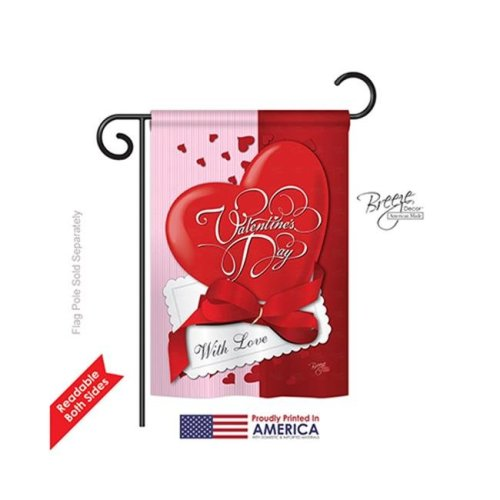Breeze Decor 51002 Valentines with Love 2-Sided Impression Garden Flag - 13 x 18.5 in.