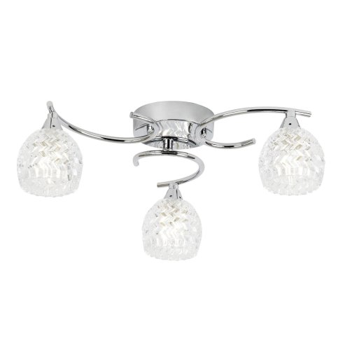Modern Polished Chrome Ceiling Light With Cut Glass Shades