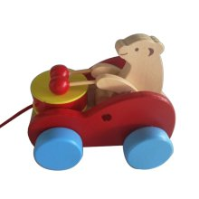 Lovely Wooden Push & Pull Toy Pull-Along Wagon Vehicle Bear