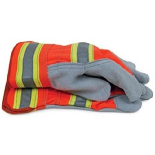 BlackCanyon Outfitters 702705L High Visibility Split Cowhide Leather Work Gloves Large