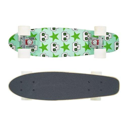 """Vinsani 22"""" Cruiser Green Skull Design Outdoor Ride Maple Skateboard"""