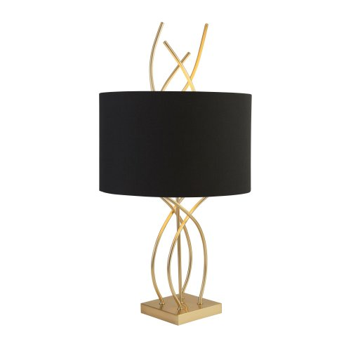 Searchlight Flame Table Lamp With Ab Base And Black Shade
