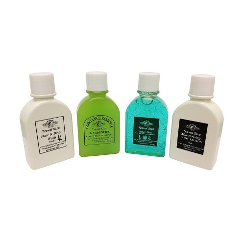 Travel Size Pack, Aloe Vera & Camomile After sun, Famous Gardener's Insect Repelling Gel, Moisturising Body Lotion & Hair/Body Wash (50ml each)