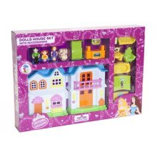 Children's Doll House With Door Bell, Furniture, Dog & People