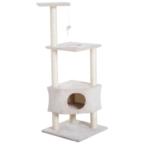 PawHut Cat Tree Activity Center Kitten Climbing Tower with Scratching Post Plush Perch With Hanging Toy