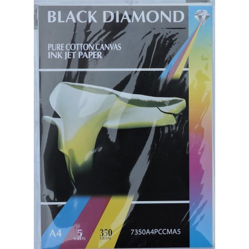 5 Sheets A4 350gsm Black Diamond Pure Cotton Canvas Photo Paper