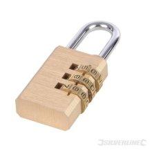 Silverline Combination Padlock Brass 3-digit - 3digit 744867 -  combination padlock brass silverline 3digit 744867