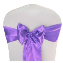 10PCS Wedding Anniversary Ribbon Elegant Chair Cover Bands Decor-Purple