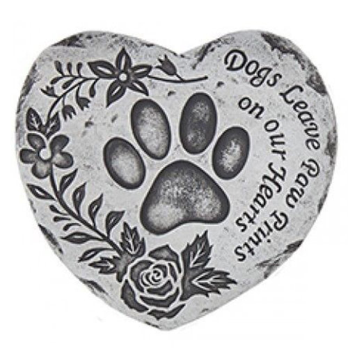 Heart Shaped Pet Memorial Plaque Memory Stone - Dogs Leave Paw Prints on our Hearts
