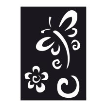 Dragonfly & Flower Air Brush Adhesive Stencil - 70x 100mm Reusable Paint - 70x 100mm Dragonfly Flower Reusable Air Brush Paint Flexible Wall Car
