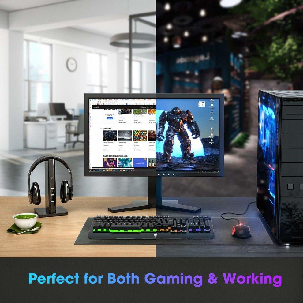 Gaming Keyboard UK, VicTsing Ultra-Slim Rainbow LED Backlit USB Wired  Keyboard with 12 Multimedia Shortcut Keys, 19-Key Anti-Ghosting,  Ergonomic