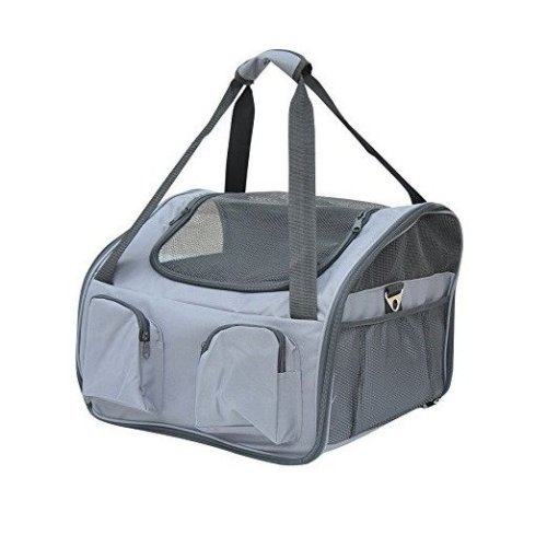 Pawhut Pet Carrier Folding Bag Car Seat Dog Portable Travel Cage Tote Case Mesh Grey