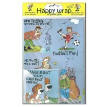Manly Wrap Gift Wrapping Paper Dad Fathers Day Birthday Tags Card Cartoons Fun