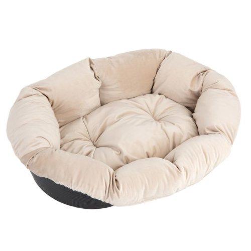 Black Plastic Dog Basket Beige Velvet Removable Cover