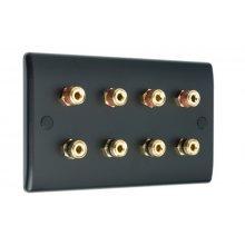 Matt Black Slimline 4.0 Speaker Wall Plate - 8 Terminals - No Soldering Required