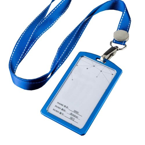 Aluminum Alloy Vertical Style ID Card Badge Holder with Neck Lanyard Strap 3PCS, 01
