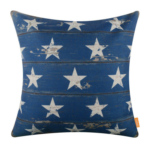 """18""""x18"""" Independence Day Blue Stars Holiday Burlap Pillow Cover Cushion Cover"""