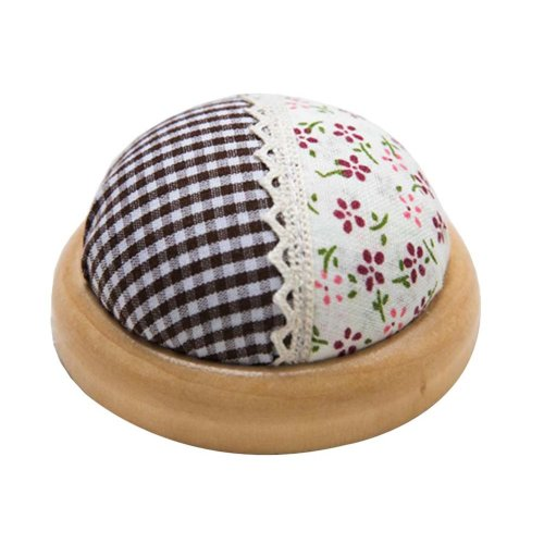 Set of 2 Pin Cushions for Sewing with Wood Base - 12