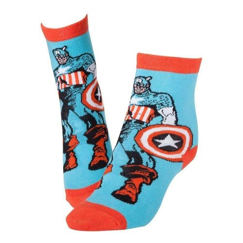 MARVEL COMICS Captain America Super Soldier and Shield Crew Socks 43/46 Blue/Red