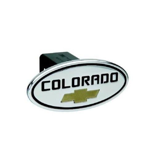 DefenderWorx 37073 Chevy - Colorado - Black w - Gold Bowtie - Oval - 2 Inch Billet Hitch Cover