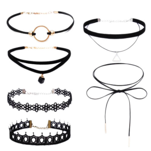 Fashion Chain Collar Neck Ornament Neckband Lace Necklace 6 PCS(A)